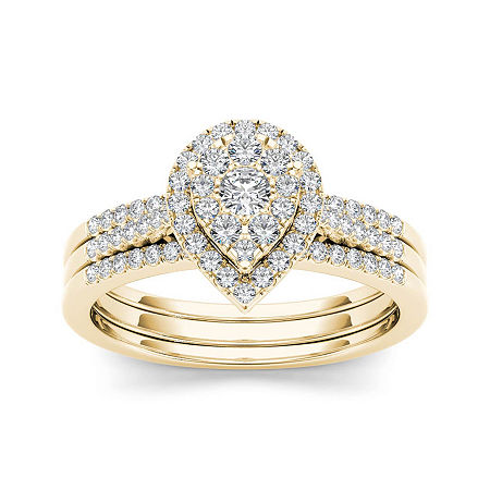 1/2 CT. T.W. Diamond 10K Yellow Gold Bridal Ring Set, 6 , No Color Family