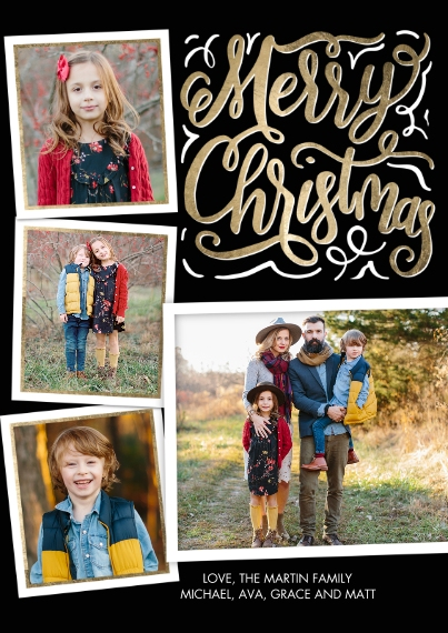 Christmas Photo Cards 5x7 Cards, Premium Cardstock 120lb with Elegant Corners, Card & Stationery -Christmas Chalkboard Greeting by Tumbalina