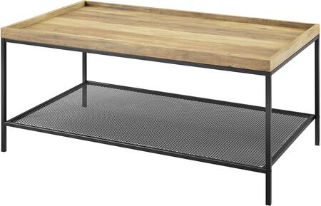 AF42EMICTRO 42    Square Tray Coffee Table with Mesh Metal Shelf in Rustic
