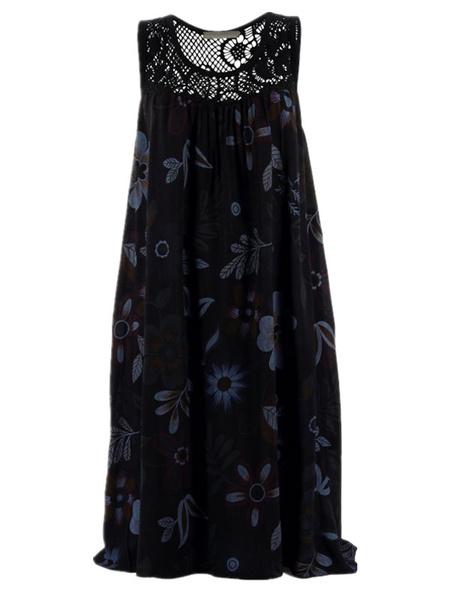 Milanoo Vestido de verano Vestido de playa negro estampado con cuello joya