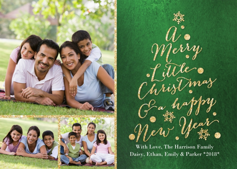 Christmas Photo Cards Flat Glossy Photo Paper Cards with Envelopes, 5x7, Card & Stationery -Christmas Glitter Word Tree