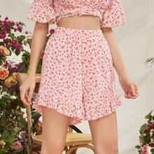 Shorts mit elastischer Taille, Raffungsaum und Bluemchen Muster