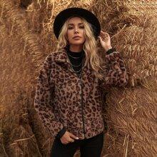 Leopard Print Zip Up Drop Shoulder Teddy Jacket