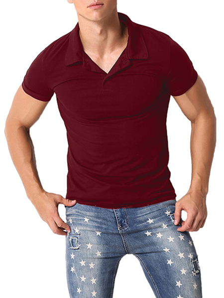 Yoins Style Dome Men Fashion Leisure Casual Button Fit Short Sleeve Turn Down Collar Polos
