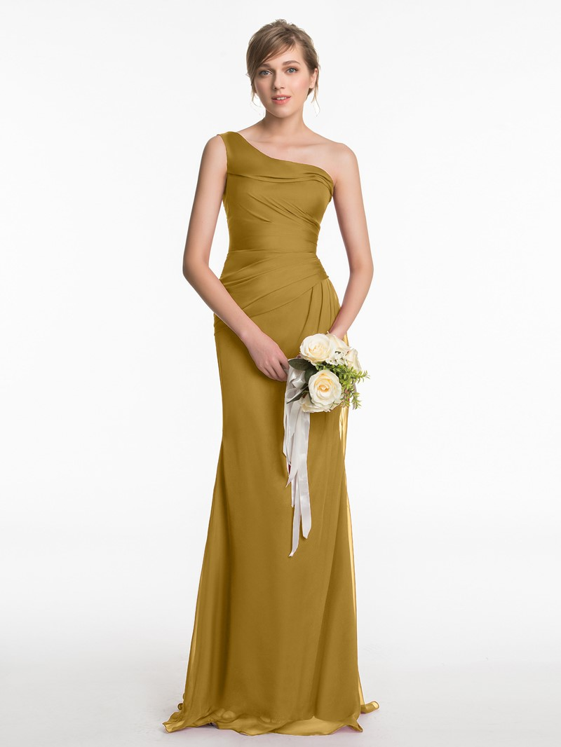 Ericdress One Shoulder Sheath Long Bridesmaid Dress