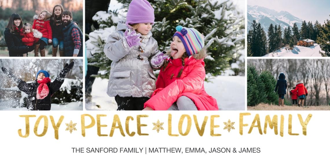 Christmas Photo Cards 4x8 Flat Card Set, 85lb, Card & Stationery -Christmas Joy Peace Love Family
