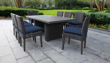 Venice Collection VENICE-DTREC-KIT-8C-NAVY Patio Dining Set With 1 Table  8 Side Chairs - Wheat and Navy