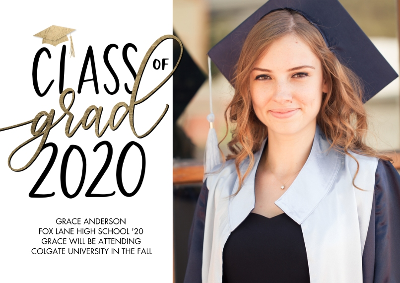 2020 Graduation Announcements 5x7 Cards, Premium Cardstock 120lb with Elegant Corners, Card & Stationery -Class of Grad 2020