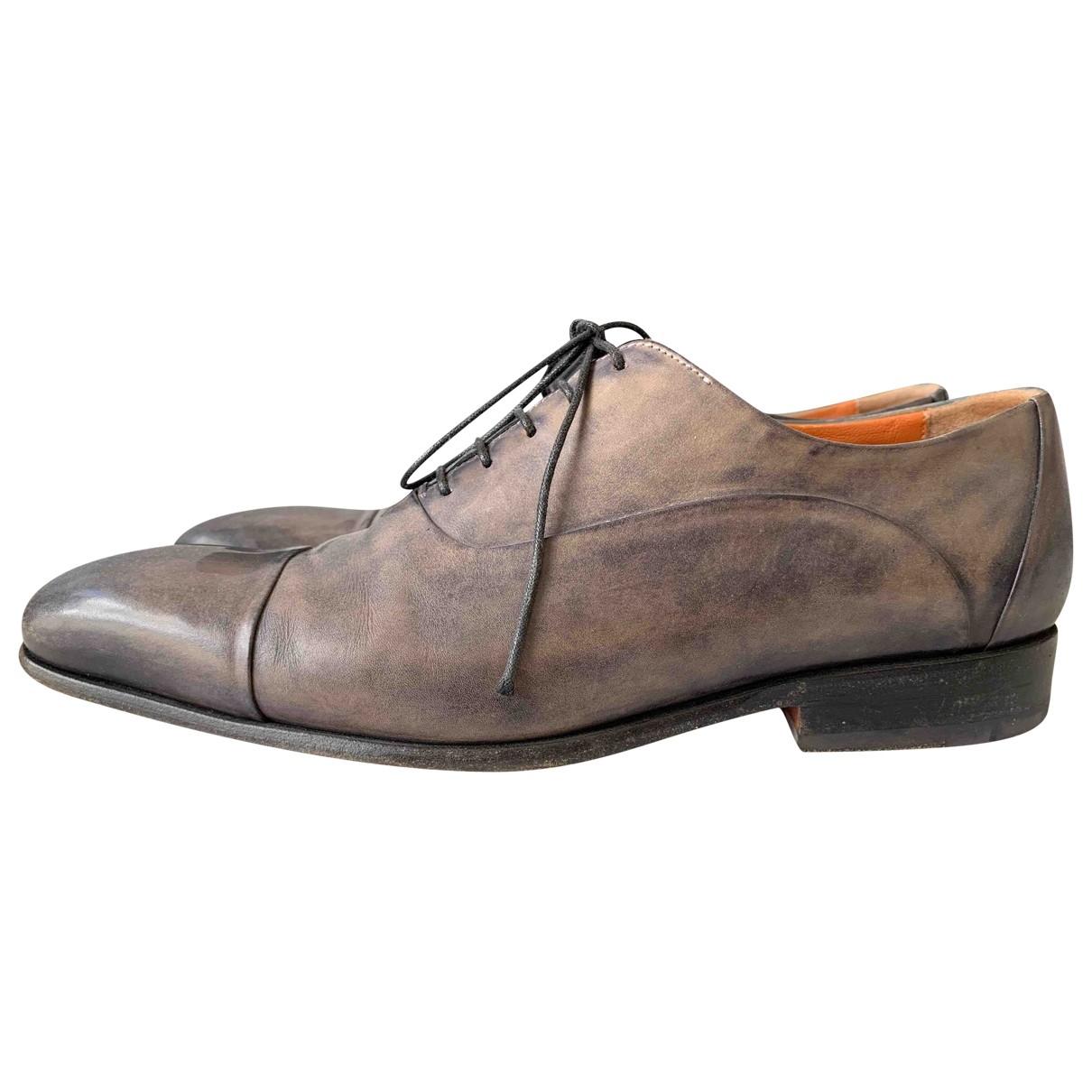 Santoni \N Grey Leather Lace ups for Men 41 EU