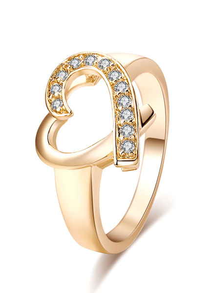 Milanoo Gold Engagement Ring Crystal Heart Pattern Cut Out Round Rings