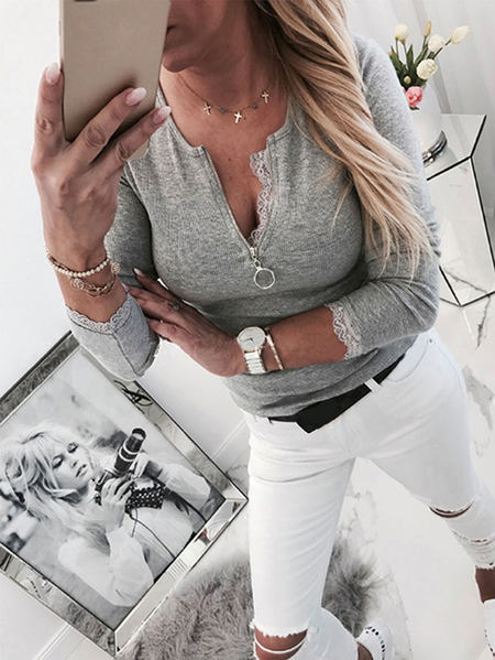 Yoins Grey Lace Patchwork Zip Front Round Neck Long Sleeves Tee