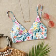 Floral & Plant Print Bikini Top