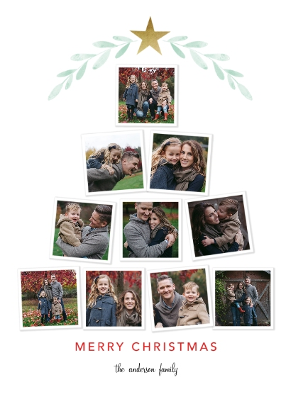 Christmas Photo Cards 5x7 Cards, Premium Cardstock 120lb with Scalloped Corners, Card & Stationery -Tree Collage