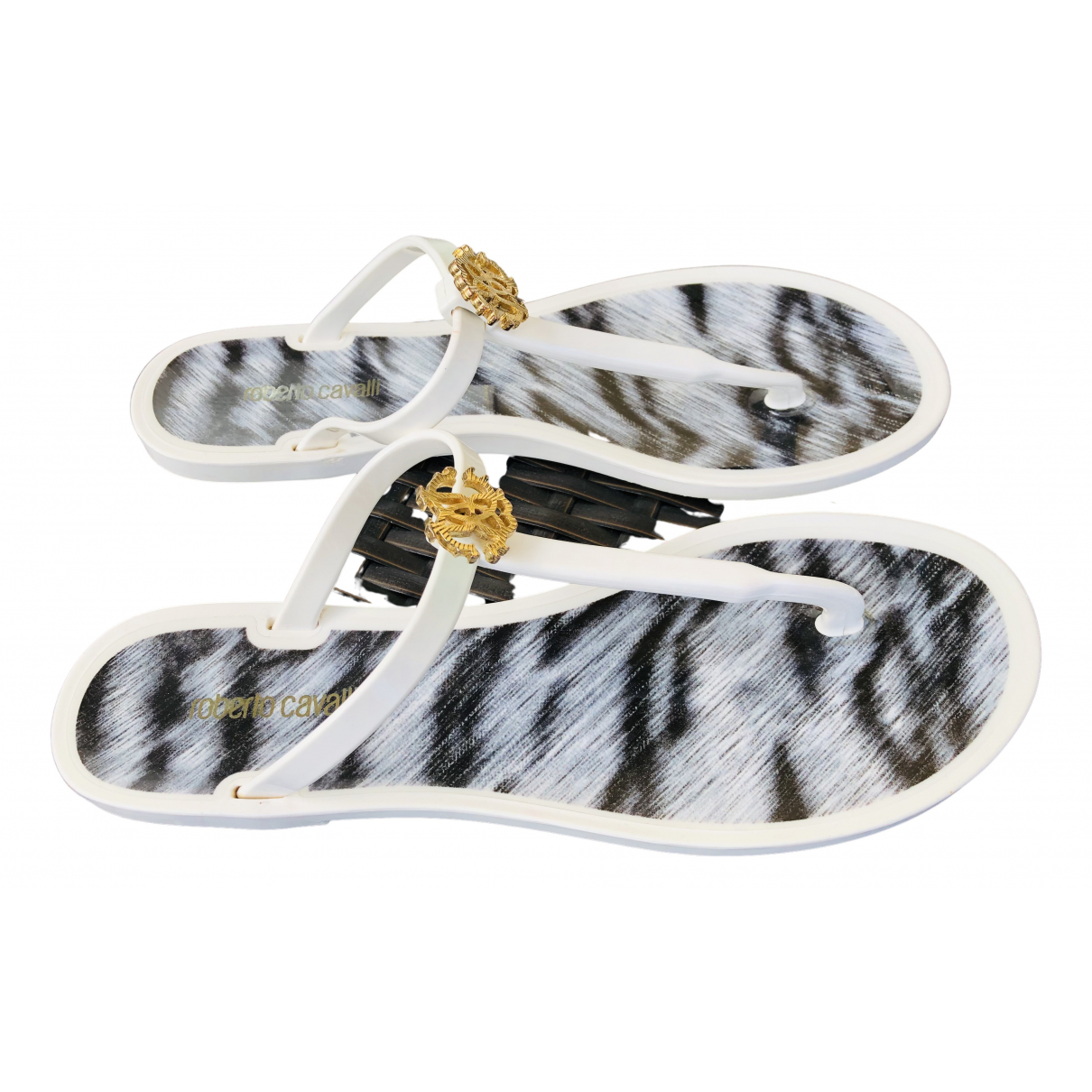 Roberto Cavalli N White Rubber Sandals for Women 39 IT