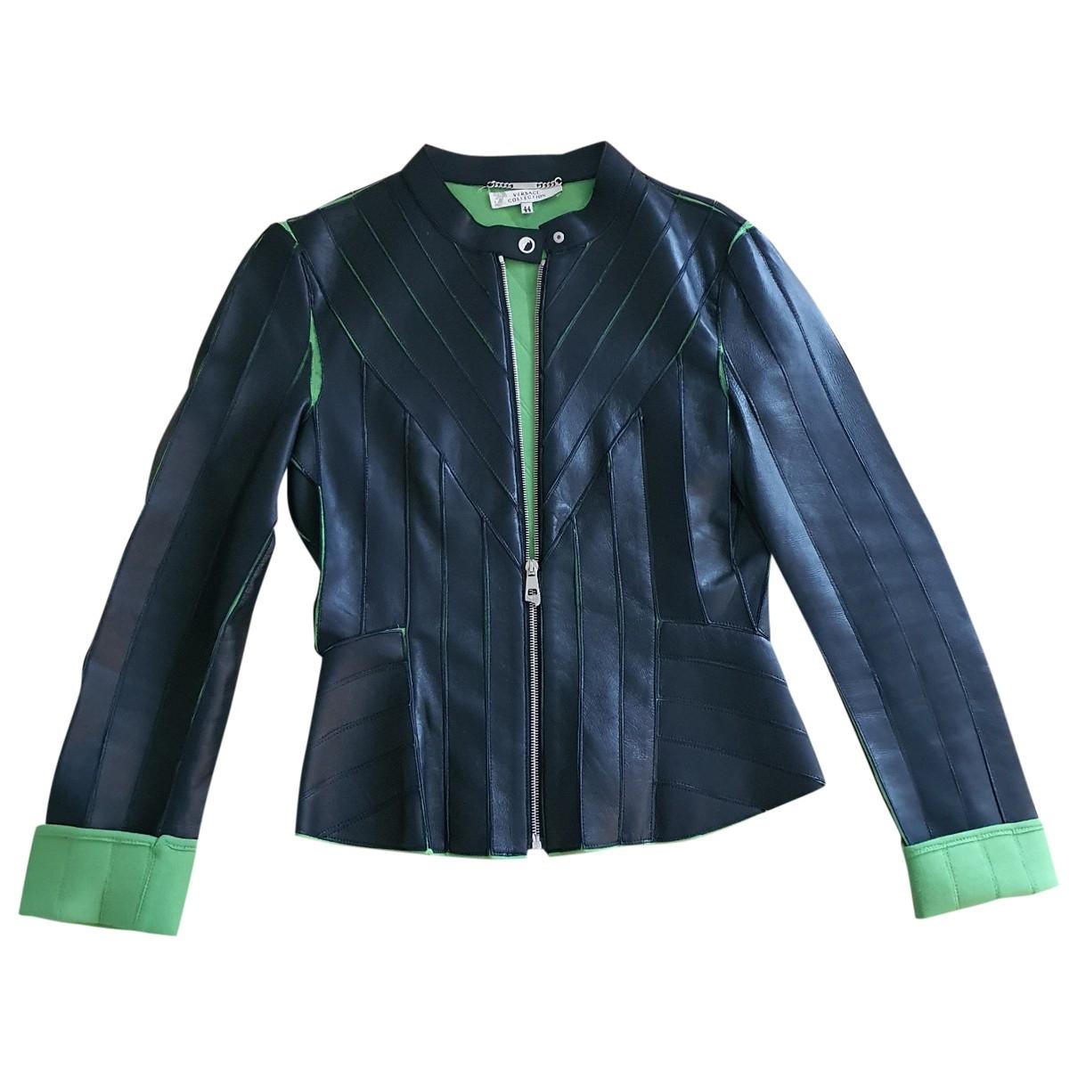 Versace \N Black Leather jacket for Women 44 IT