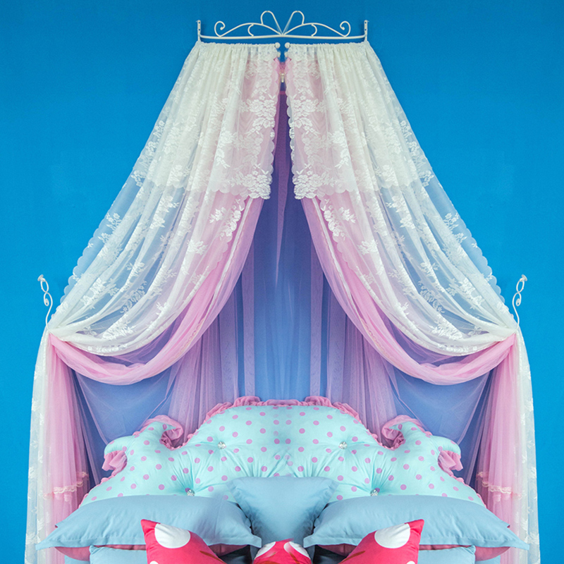 Princess Style Double Lace Pink and White Bed Canopy