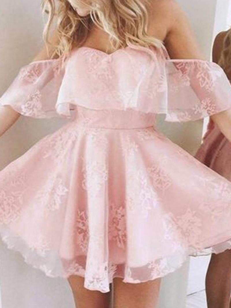 Ericdress Print Short Sleeve Off Shoulder A-Line Dress