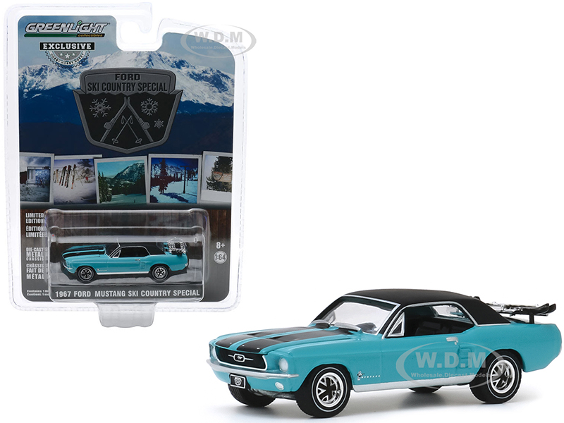 1967 Ford Mustang Coupe Winter Park Turquoise with Black Stripes and Black Top and a Pair of Skis