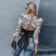 Zebra Stripe Tie Back Gigot Sleeve Blouse