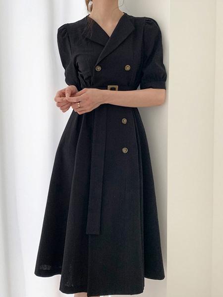 Milanoo Patinador vestidos de cuello de cobertura de mama manga corta de dos hojas en forma y vestido de la llamarada