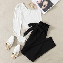 One Shoulder Crop Top & Paperbag Waist Belted Pants Set