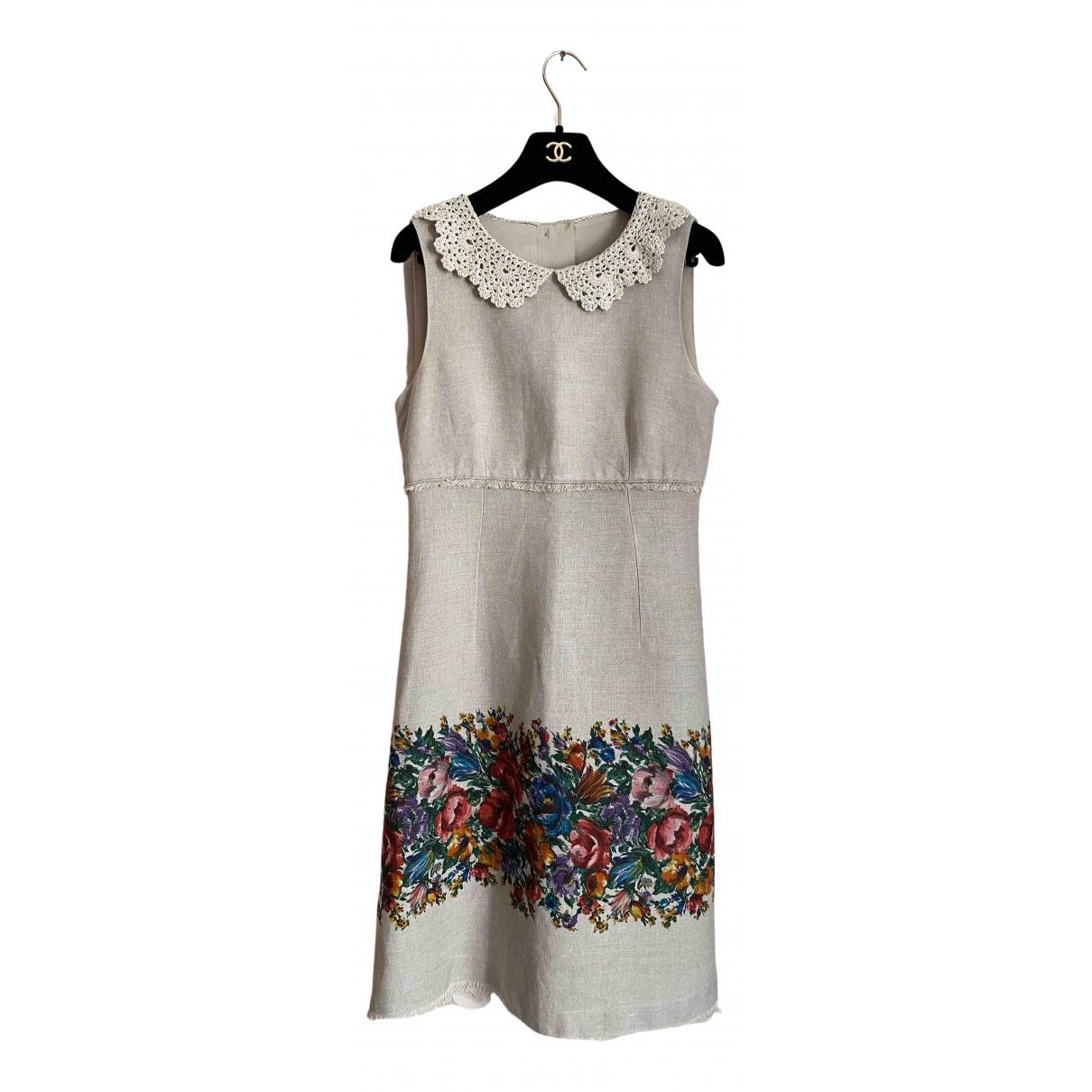 Dolce & Gabbana \N Kleid in  Beige Leinen