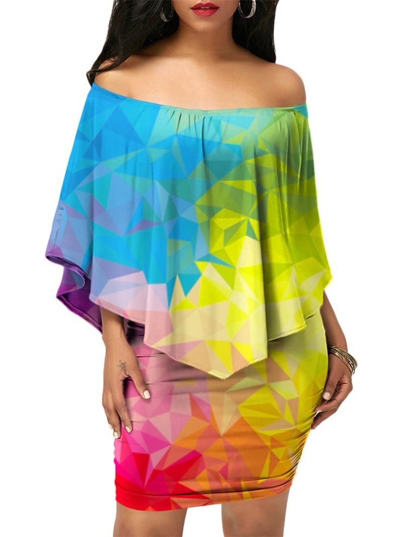 Ericdress Color Block Off Shoulder Asymmetric Women's Two Piece Set