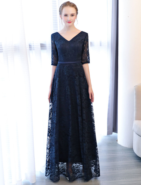 Milanoo Prom Dresses Dark Navy Long V Neck Lace Sash Floor Length Formal Evening Gowns
