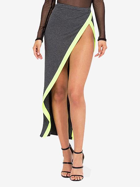 Yoins High-rise Slit Asymmetrical Wrap Maxi Skirts in Grey
