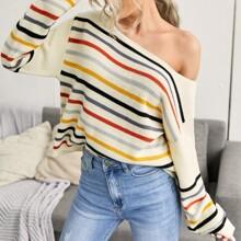 Boat Neck Striped Drop Shoulder Sweater