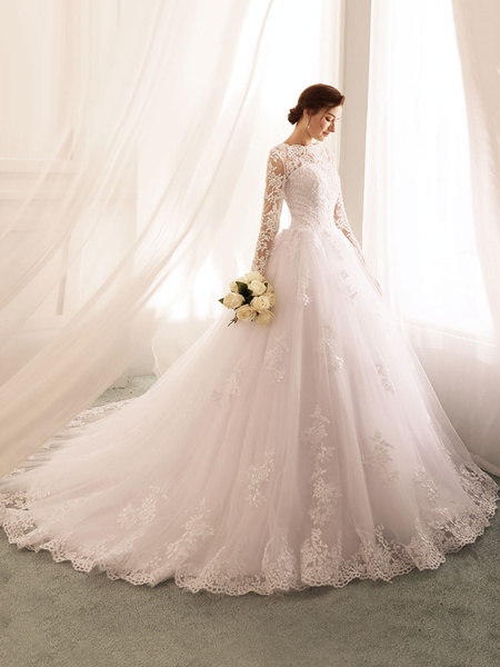 Milanoo Vestidos de novia 2020 Princess Silhouette Bateau Neck Manga larga Cintura natural Encaje Tul Vestidos de novia