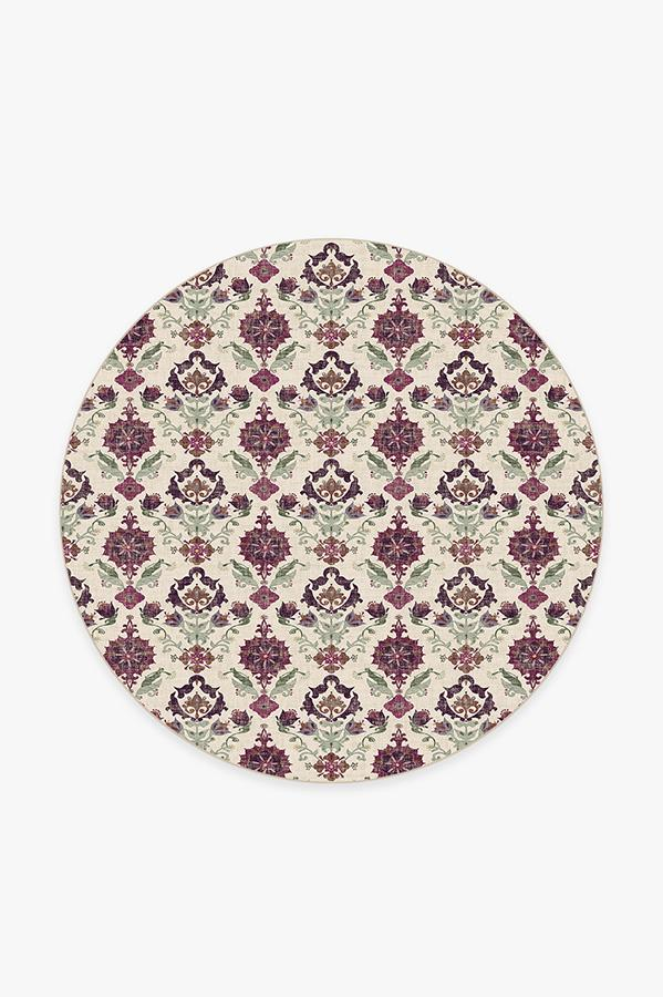Washable Rug Cover | Floral Damask Mimi Purple Rug | Stain-Resistant | Ruggable | 6 Round