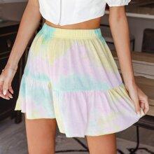 Ruffle Hem Tie Dye Skirt
