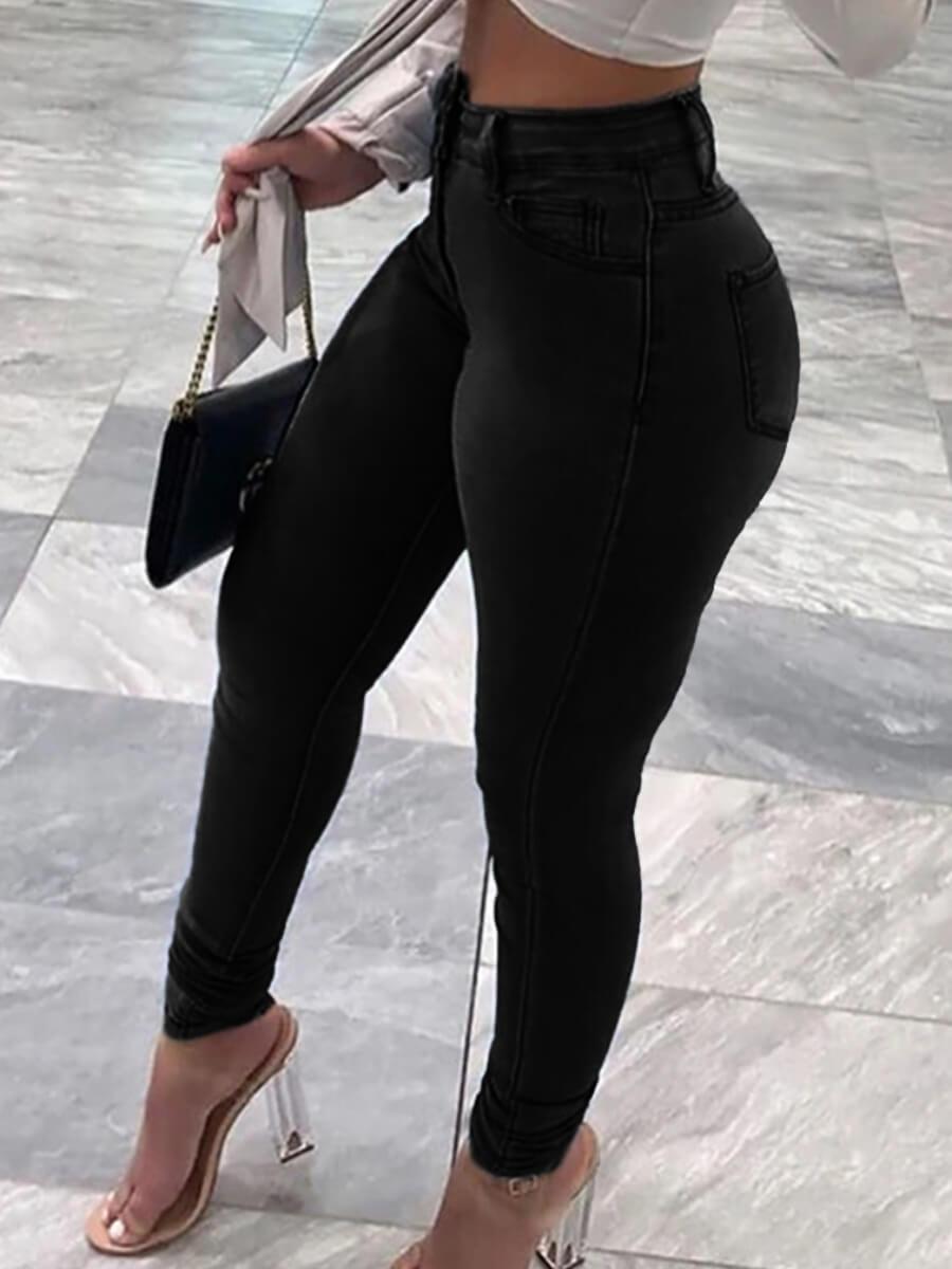 LW Lovely Sportswear Basic Skinny Black Plus Size Jeans