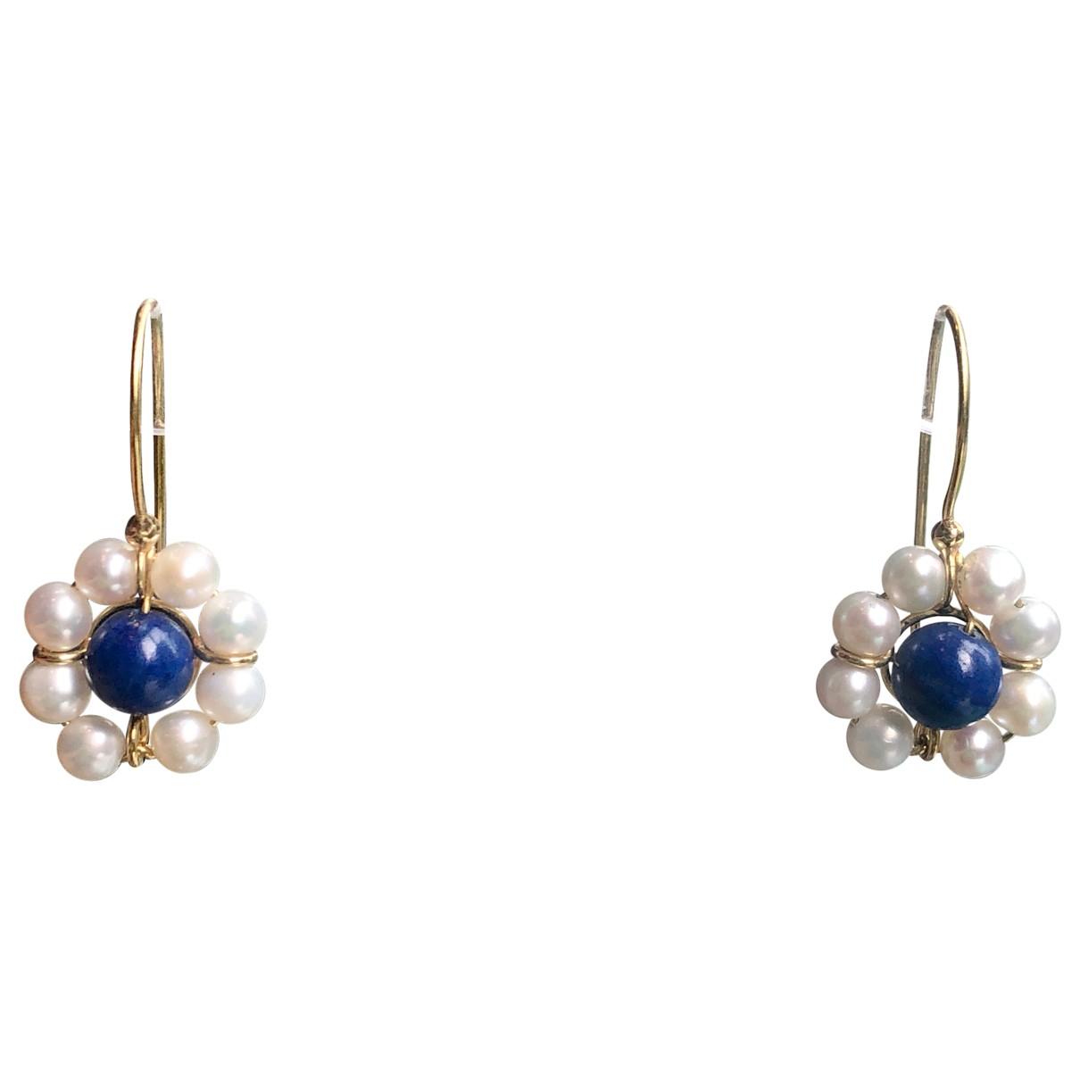 Non Signe / Unsigned Motifs Floraux OhrRing in  Blau Perlen
