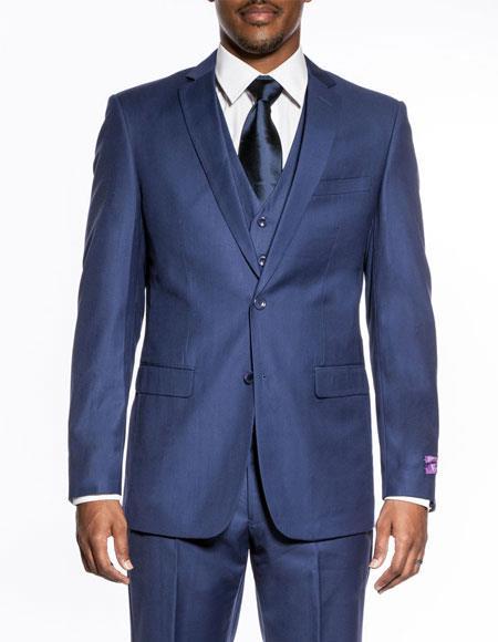 Mens indigo 3 piece slim fit wedding prom vested suit