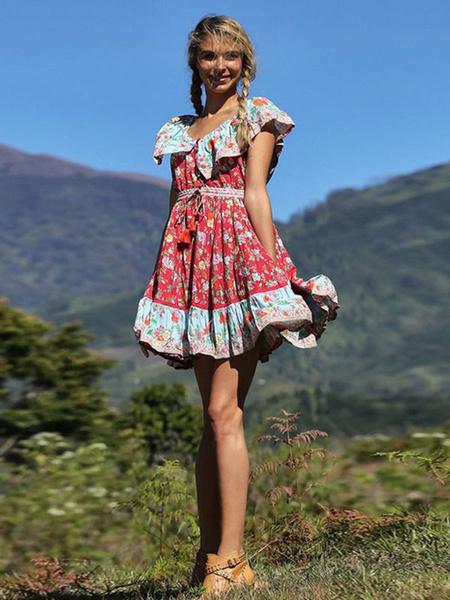 Milanoo Boho Summer Dress Floral Print Short Sleeve Tassels Ruffles Button Up Dress