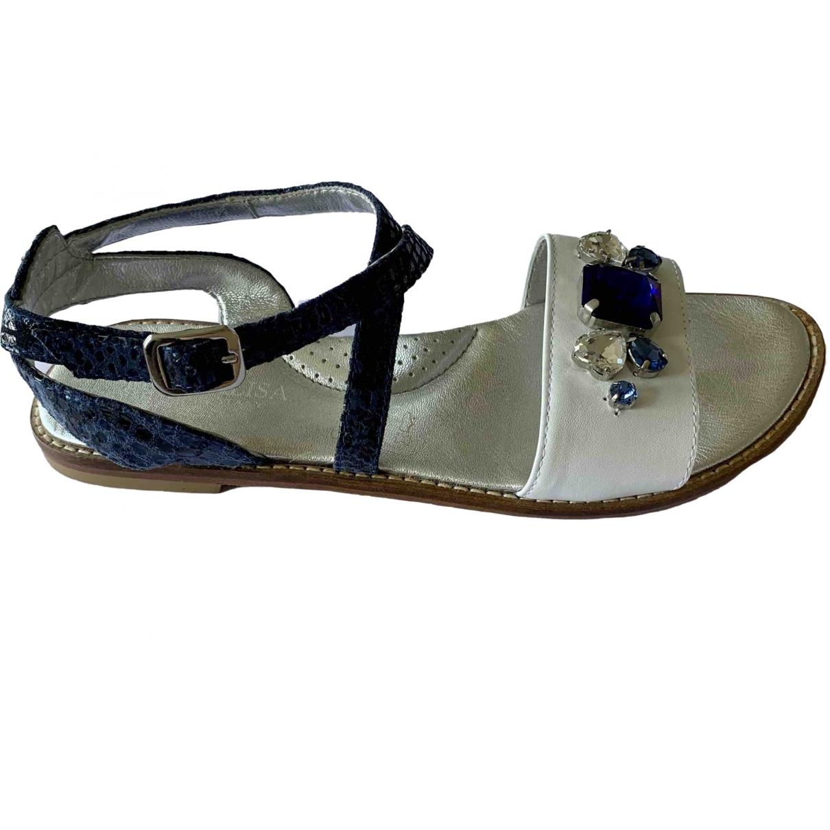 Monnalisa \N White Leather Sandals for Kids 36 EU