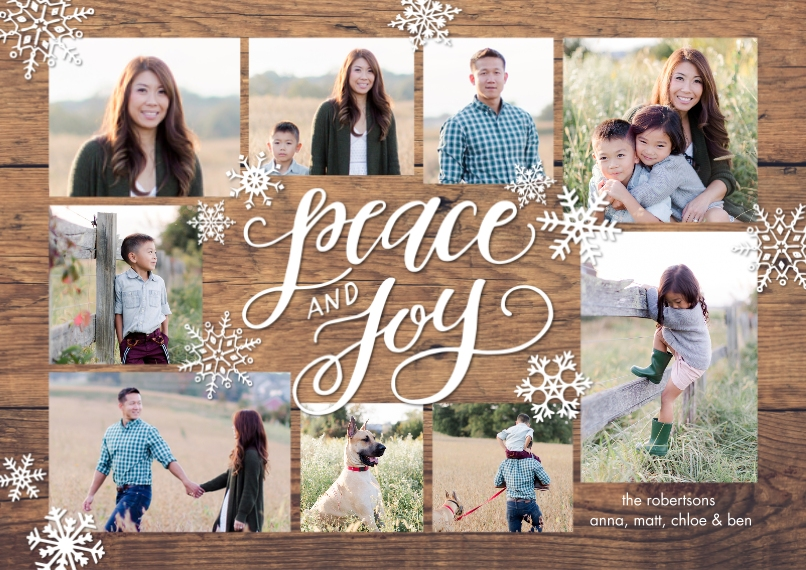 Christmas Photo Cards 5x7 Cards, Premium Cardstock 120lb with Scalloped Corners, Card & Stationery -Holiday Peace Joy Collage by Tumbalina