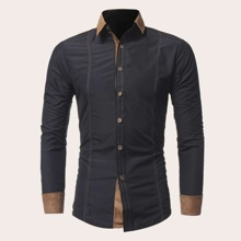Guys Contrast Panel Topstitching Shirt