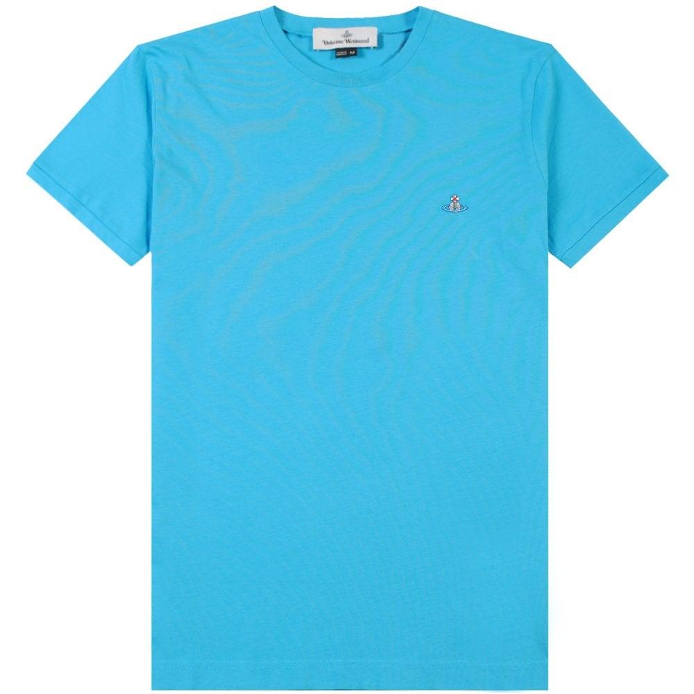 Vivienne Westwood Classic Orb Logo T-Shirt Colour: SKY BLUE, Size: EXTRA EXTRA LARGE