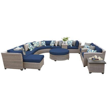FLORENCE-12a-NAVY Florence 12 Piece Outdoor Wicker Patio Furniture Set 12a with 2 Covers: Grey and