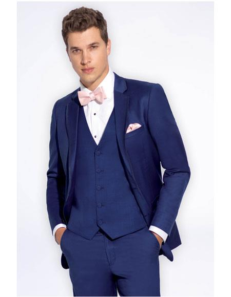 Men's Slate Blue Single Breasted Notch Lapel Slim Fit Vest Suit