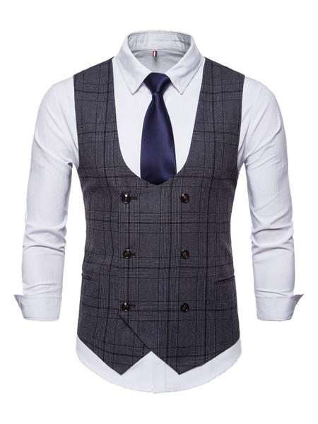 Milanoo Men Suit Vest Plus Size 1950s Plaid Tuxedo Double Breasted U Neck Waist Coat