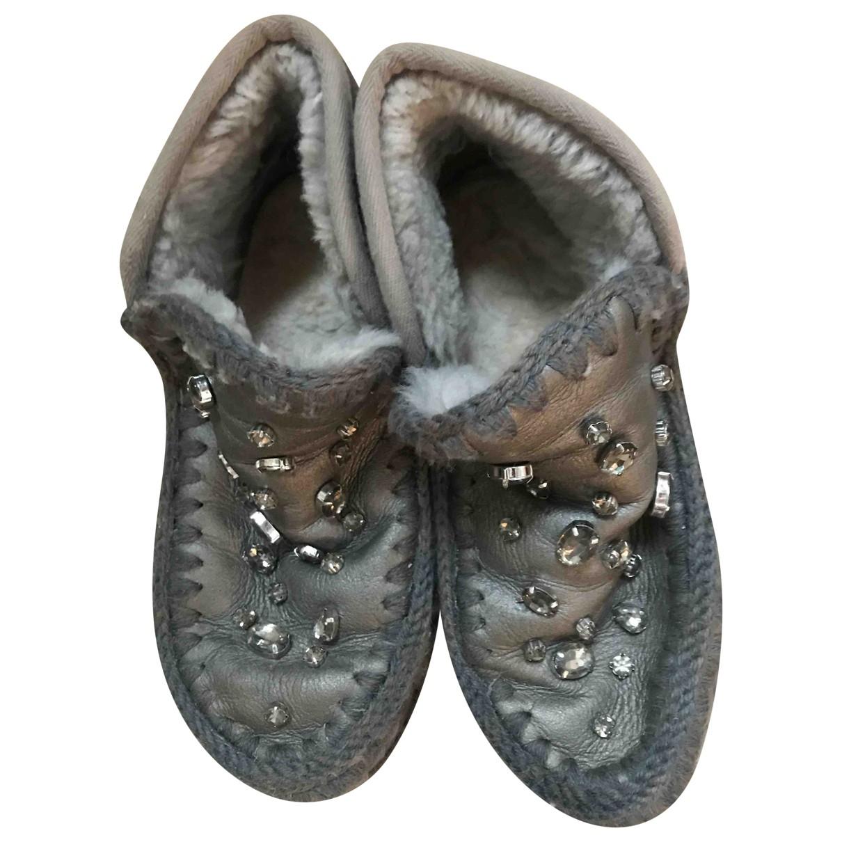Mou - Boots   pour femme en mouton - anthracite
