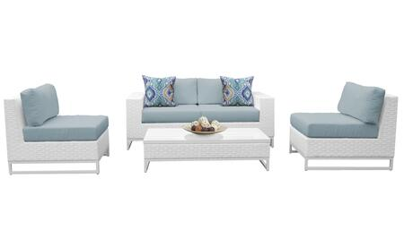 Miami MIAMI-05g-SPA 5-Piece Wicker Patio Furniture Set 05g with 2 Armless Chairs  Left Arm Chair  Right Arm Chair and Coffee Table - Sail White and