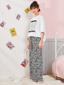 Drop Shoulder Graphic Print Top & Leopard Pants PJ Set