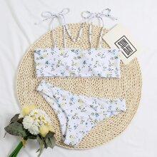 Bikini Badeanzug mit Blumen Muster und Band auf Schulter