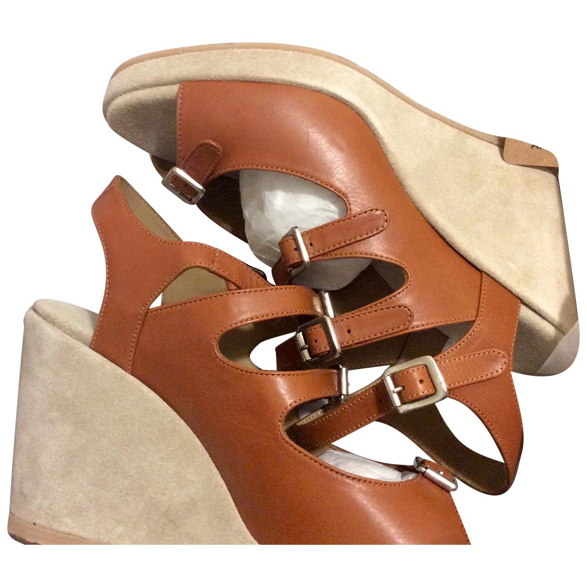 Apc - Espadrilles   pour femme en cuir - marron