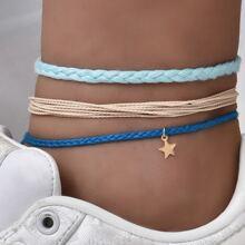 3pcs Star Charm Braided Anklet